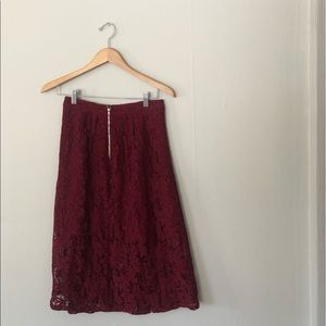 red lace flowy midi skirt